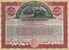 The New York Central and Hudson River Railroad Co. ​- #scripomarket #scriposigns #scripofilia #scripophily #finanza #finance #collezionismo #collectibles #arte #art #scripoart #scripoarte #borsa #stock #azioni #bonds #obbligazioni