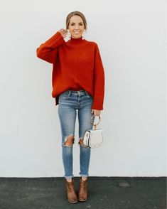 Unique Winter Outfits For Every Occasion - Stiefel Red Shirt Outfits, Red Sweater Outfit, Outfit Jeans, Jean Outfits, Casual Outfits, Casual Clothes, Work Clothes, Brown Ankle Boots Outfit, Tents