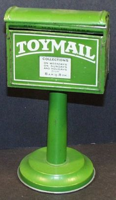 Vintage Tin Toy Pedestal Style Opening Mailbox by Hullco Toys