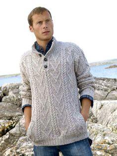 IRISH TRADITIONAL PATTERN BUTTON JUMPER: X4176 [118] - $120.00 : Irish Sweaters Aran Sweater, Irish Wool Sweaters