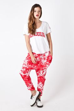 BONJOUR Scoop Neck Tee  in White Harem Pants, Tie Dye, Scoop Neck, Tees, Stuff To Buy, Clothes, French Toast, Women, Fashion