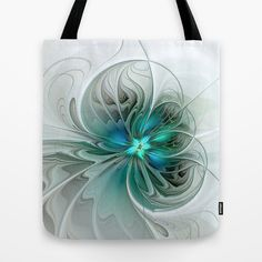 Abstract With Blue, Fractal Art Tote Bag by gabiw Art.