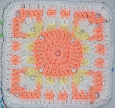 Coral Sunrise Square | AllFreeCrochetAfghanPatterns.com