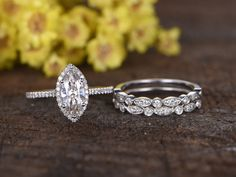 1 Carat Marquise Cut Moissanite Bridal Sets Diamond Wedding Ring 14k White Gold Art Deco Milgrain Matching Band
