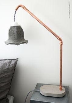 Mormorsglamour- pyssel och inredning: DIY betong och kopparlampa