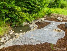 Stream and Patio Area.ie 67 Stream and Patio Area. Design - T Landscape Design, Garden Design, Ireland Landscape, Garden Landscaping, Stepping Stones, Toms, Sidewalk, Construction, Outdoor Decor
