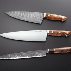 Damascus steel knives by Bob Kramer. Someday I will buy a Bob Kramer knife.