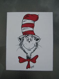 8x10 Dr Seuss Style Cat in the Hat Canvas by meandmypaintbrush, $49.99
