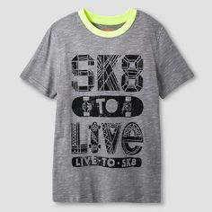 Boys' Sk8 to Live Graphic T-Shirt Cat & Jack™ - Gray