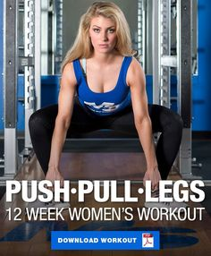 This 12 week push, pull, legs workout was designed specifically for women looking to build lean muscle and lose unwanted fat. Read on to learn more! Push Pull Workout Routine, Push Pull Legs Workout, Leg Workout Plan, Leg Routine, Push Workout, Workout Splits, Workout Routines For Women, Workout Plan For Women, Push Pull Legs Program