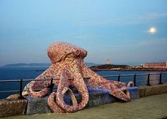 Mosaic Octopus Sculpture. This is a beautiful mosaic sculpture on the bean in Spain.