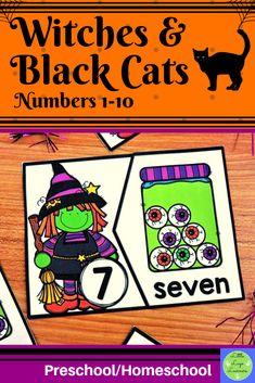 These Witches Preschool Halloween, Halloween Witches, Halloween Activities, Numbers Preschool, Preschool Math, Maths, Morning Activities, Numbers 1 10, Cat Activity