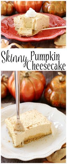 Skinny Pumpkin Cheesecake - you'll never guess this sweet & creamy pumpkin cheesecake is light! From Butter With A Side of Bread AD #InspiredGathering