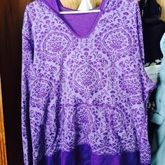 Purple Paisley Hoodie Shades of purple for this hoodie which is BNWOT; has a pocket to carry keys, phone & small wallet; solid purple cuffs around wrists and bottom of shirt; light material but will still keep you want in a breeze Tops Sweatshirts & Hoodies