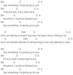 say something i'm giving up on you lyric chord - Google Search