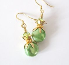 Lime Green Earrings Upcycled Vintage Beads by SendingLoveGallery, $22.00