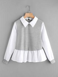 Gerippte Kontrast-Rüschenbluse - SheIn (Sheinside) -#Bluse