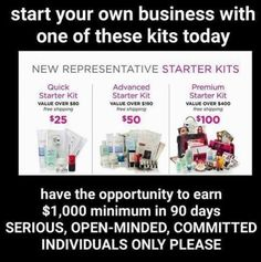 3 kits to choice from.. Which one is the best for you to get you started on your Avon business? As a bonus for joining my team I will give you extra free catalogs and samples to get your business started before the kit comes in. When you place your first $150 order I will give you a free gift and a Avon T-Shirt start your dream at www.youravon.com use reference code: MY1724