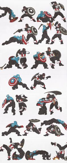 My Marvel Related key pose sequence, featuring Bucky Captain America Versus Punisher Cap. From top left to bottom right, Bucky Barns deflects and counters and finally suplexes Frank Castle, AKA. Comic Book Characters, Comic Character, Comic Books Art, Comic Art, Character Design, Animation Reference, Drawing Reference, Marvel Art, Marvel Heroes