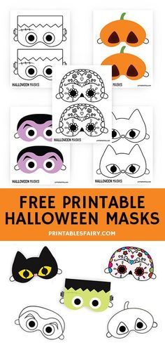 Printable Halloween Masks for Kids - The Printables' Fairy Let your kids make these fun Halloween masks by getting the free printables now! Haloween Mask, Halloween Masks Kids, Printable Halloween Masks, Masque Halloween, Halloween Activities For Kids, Printable Masks, Halloween Decorations For Kids, Halloween Halloween, Day Use