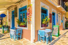 Nice taverna at Kokkari village, Samos island, Notheast Aegean sea, Greece Greece Vacation, Greece Travel, Places To Travel, Places To See, Samos Greece, Puzzle Of The Day, European Destination, Jigsaw Puzzles, Tourism