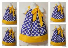 Custom Made Pillowcase Dress--sizes available NB-3T--LSU color --Purple and Gold