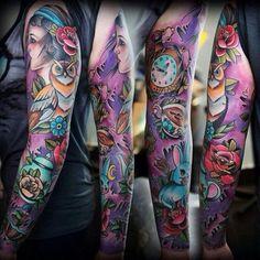 125 Fantastic Half and Full Sleeve Tattoos for 2019 - Beste Tattoo Ideen Full Sleeve Tattoo Design, Arm Sleeve Tattoos, Spine Tattoos, Japanese Sleeve Tattoos, Sleeve Tattoos For Women, Tattoos For Guys, Tattoo Japanese, Feminine Sleeve Tattoos, Gypsy Tattoo Sleeve