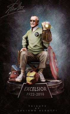 # Marvel& tribute to Stan Lee - collector& statue, Luciano Berutti on ArtStation below . - to Stan Lee – collector& statue, Luciano Berutti on ArtStation below www. Marvel Dc Comics, Films Marvel, Marvel Funny, Fun Comics, Marvel Art, Marvel Memes, The Avengers, Avengers Movies, Logo Super Heros