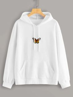 To find out about the Butterfly Patched Drawstring Hooded Sweatshirt at SHEIN, part of our latest Sweatshirts ready to shop online today! Teen Fashion Outfits, Outfits For Teens, Tomboy Outfits, Emo Outfits, Grunge Outfits, Punk Fashion, Lolita Fashion, Fashion Dresses, Mode Kawaii