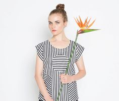 Railroad Circle Blouse  Black and White by sarabergman on Etsy, $68.00