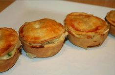 Preheat oven to 400 degrees. - Recipe Appetizer : Mini turkey pot pies by JanisN Muffin Tin Recipes, Baking Recipes, Great Recipes, Favorite Recipes, Recipe Ideas, Good Food, Yummy Food, Savoury Baking, Cooking For Two