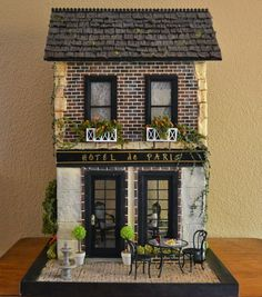 Miniature hotel and restaurant dollhouse