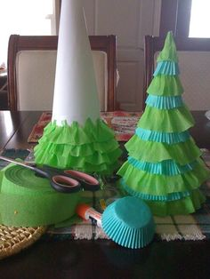 Christmas tree from crepe paper and paper cone.   Crafting with kids -Christmas 2011