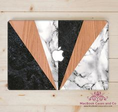 Marble and wood macbook case, MacBook Case. Marble Macbook case.  Top and Bottom Hard Plastic MacBook Case by MacBookCasesandCo on Etsy