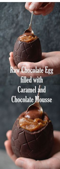 A giant, salted, raw chocolate egg, filled with salted date caramel and dark chocolate mousse.