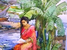 Bangladeshi Village watercolor painting by celebrated artist Samiron Chowdhury Artist Painting, Watercolor Paintings, Bengali Art, Bangladesh Travel, Indian Village, Watercolor Techniques, Art World, Asian Art, Art Inspo
