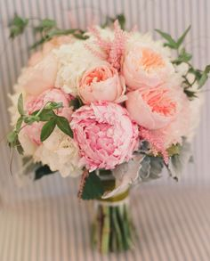 Peony, English Rose, Astilbe Bouquet