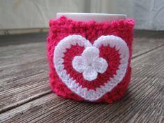 Pletený obal - svetřík na hrnek - růžový