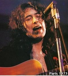 Rare picture of Jimmy Page singing in Led Zeppelin.