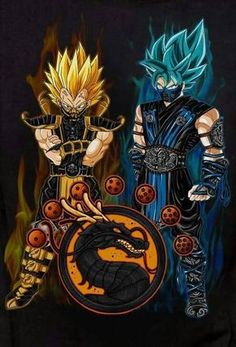 #Goku & #Vegeta as #Scorpion & #SubZero #DragonBallZ #DragonBall #DragonBallSuper #MortalKombat #MortalkombatX #MK #MKX - Visit now for 3D Dragon Ball Z compression shirts now on sale! #dragonball #dbz #dragonballsuper