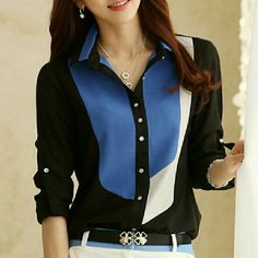 Black white and blue blouse. Long sleeve Tops Blouses