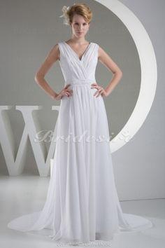 A-line V-neck Floor-length Court Train Sleeveless Chiffon Wedding Dress - $99.99