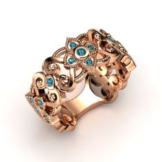 The Spanish Lace Band customized in rose gold, diamond and blue topaz. Pretty pretty think maybe amethyst instead though Lace Ring, Gold Band Ring, Blue Topaz Diamond, Sapphire, Amethyst, Platinum Ring, Rose Gold Jewelry, London Blue Topaz, Yellow Gold Rings