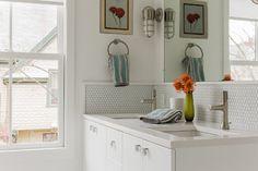 This Old House - Cambridge - eclectic - bathroom - boston - Terrat Elms Interior Design border around hex backsplash