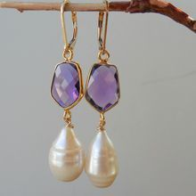 Amethyst Quartz and Baroque Pearl Drop Earrings
