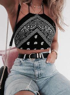 #summer #outfits / black pattern print halter top