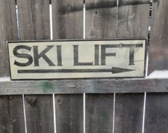 Large Hand Painted Rustic Ski Lift Wood Sign by GlancesBackVintage