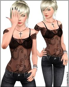 Female Clothes: Japanese Flowers Mesh Top