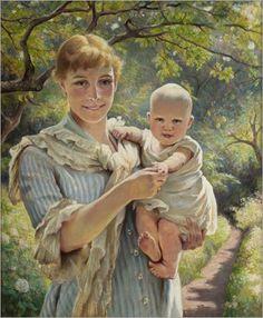 Woman with child in a flowering garden - Johan Krouthén #Motherhood #MothersDay
