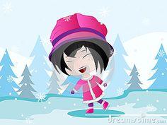 Vector Illustration of a Cartoon Girl Skating.